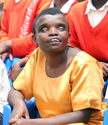 Wema leads a disabled group in her community.