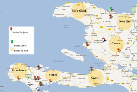 Map of Haiti and Heifer projects there.