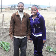 Student Nokulunga Gasa and Zusiphe Heifer International project member David Ntombela